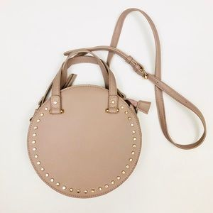 Taupe Studded Faux Lather Round Crossbody Bag